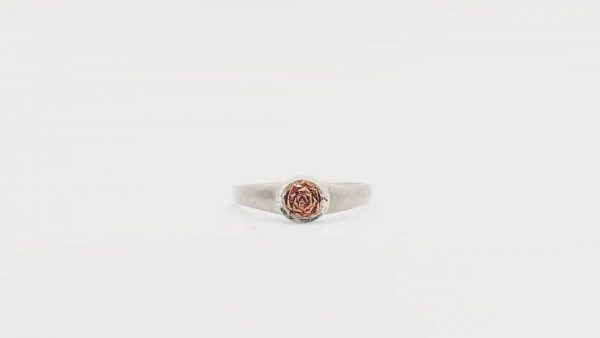 sterling silver copper rose ring