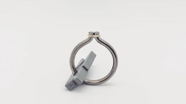 titanium 14k gold sapphire ring