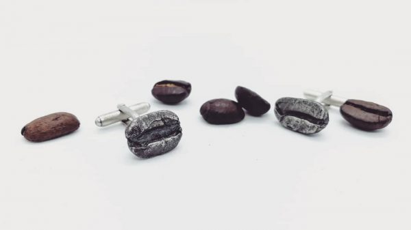 cuff links, coffee beans, sterling silver